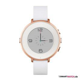 Pebble Time Round - 14mm Leder - Weiß/Rosegold