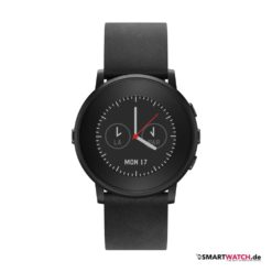 Pebble Time Round - 20mm Leder - Schwarz