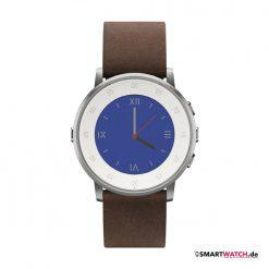 Pebble Time Round - 20mm Leder - Silber/Braun