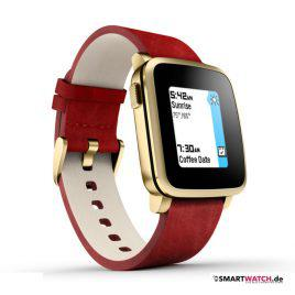 Pebble Time Steel - Leder - Gold/Rot