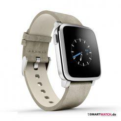 Pebble Time Steel - Leder - Silber/Beige