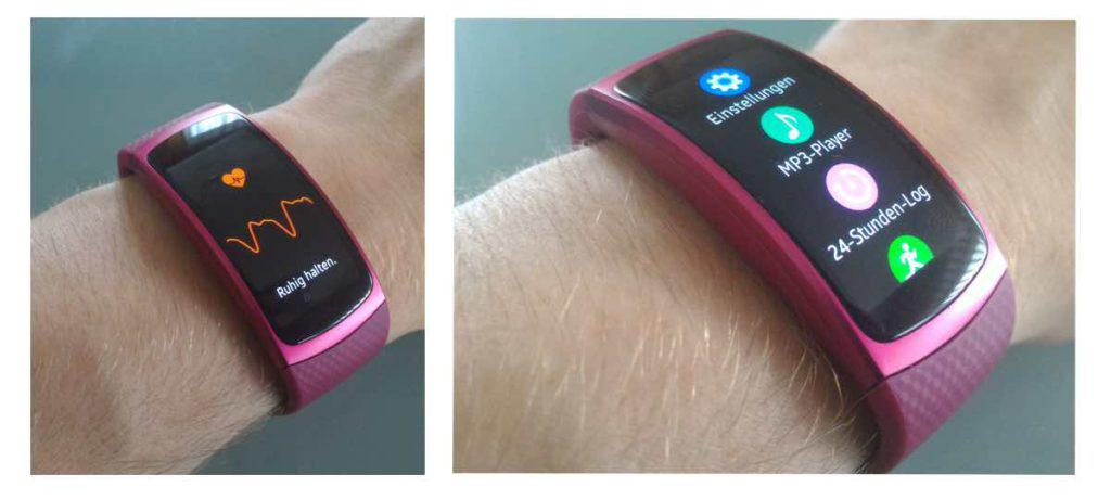 Samsung Gear Fit 2 Puls und MP3 Player Anzeige