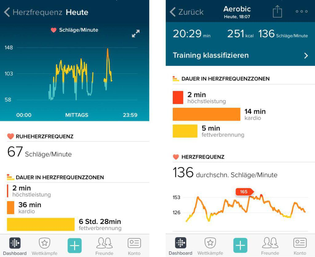Fitbit Surge App Herfrequenz und Aerobic Workout Auswertung