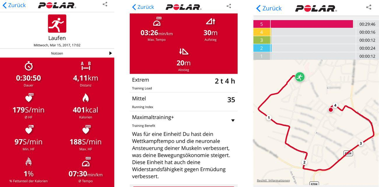 Polar M200 Flow App Trainingsauswertung Laufen