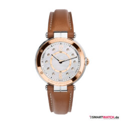 Michel Herbelin Newport Connected, Damen, Leder - Braun/Rosegold/Perlmutt