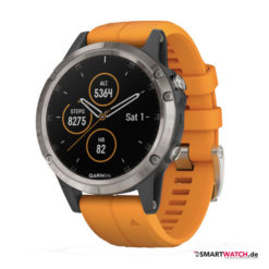 Garmin Fenix 5 Plus, Silikon - Orange/Dunkelgrau