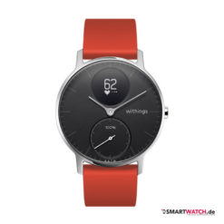 Withings Steel HR Regular - 36mm, Silikon - Rot/Silber