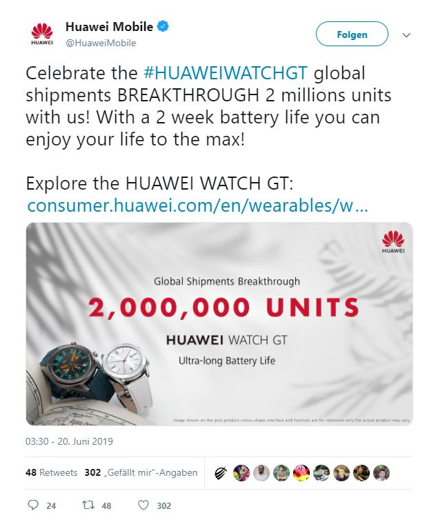 Huawei Watch GT 2 Millionen verkaufte Smartwatches