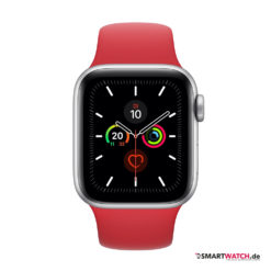 Apple Watch Series 5 GPS = 40 mm, Aluminium Sportarmband– Rot/Silber |